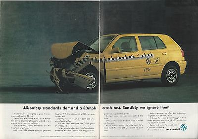 1992 VOLKSWAGEN GOLF 2-page advertisement, British advert, VW crash test