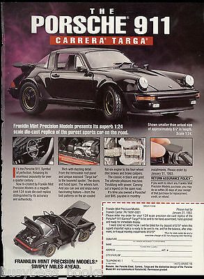 1993 Franklin Mint advertisement for the PORSCHE 911 Carrera Targa model