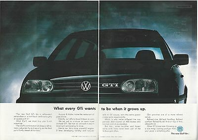 1994 VOLKSWAGEN GOLF GTi 2-page advertisement, British advert, VW GTi close-up
