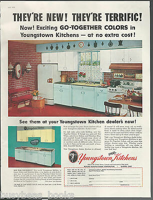 1955 YOUNGSTOWN KITCHENS advertisement, new color combos, large size ad