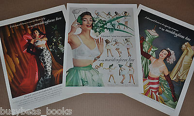 1954-55 MAIDENFORM BRA advertisement x3,  I Dreamed I was…   large size adverts