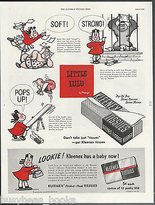 1950 KLEENEX advertisement, Kleenex tissues LITTLE LULU cartoons, large advert