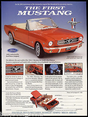 1995 Franklin Mint advertisement for the 1964 ½ MUSTANG model