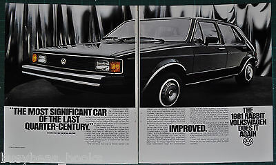 1981 VOLKSWAGEN RABBIT 2-page advertisement, VW Rabbit, black 4-door