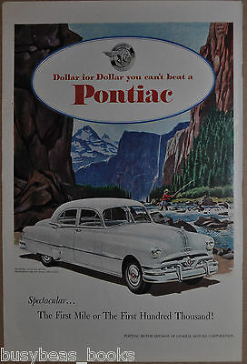 1951 PONTIAC advertisement, Pontiac Eight, fly fishing in the mountains