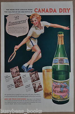 1937 CANADA DRY Ginger Ale advertisement, Woman Tennis Player, Ginger Ale bottle