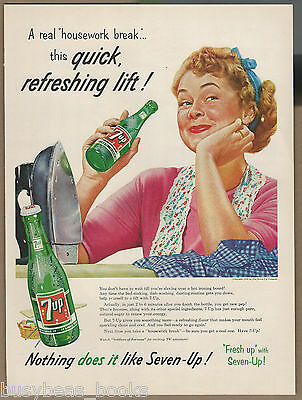 1956 7-UP advertisement, 7up housewife ironing housework, large size advert