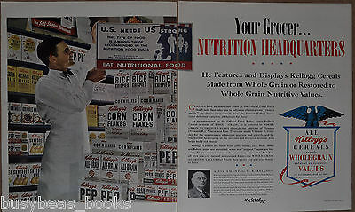 1942 KELLOGGS 2-page advertisement, Grocery store, cereals, PEP, Krumbles etc
