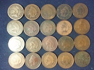(24) Indian Head Cents, different dates! Avg. Good!