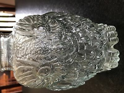 Wise Old Owl Antique Bank Clear Glass Old Collectible