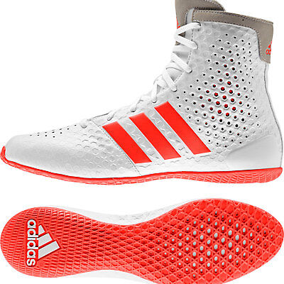 Adidas KO Legend 16.1 Boxing Boots Mens White & Red Sports Shoes Trainers
