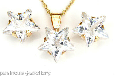 9ct Gold CZ Star Pendant and Studs Earring Set Gift Boxed Made in UK