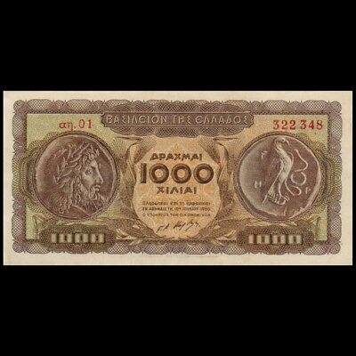 Greece 1950 1000 Drachmas Banknote Vf