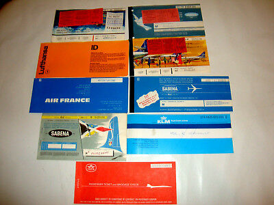 Sabena Iata Klm Air France Lufthansa Airlines Passenger Ticket And Baggage Check