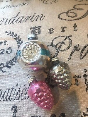 Vintage Shiny Brite Glass Mid Century Christmas Tree Ornaments Indent Mica Pink