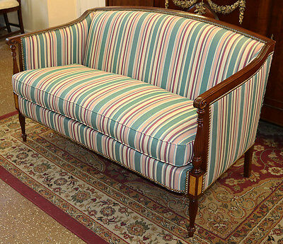 MINT James River Hickory Chair Mahogany & Satinwood Federal Style Settee Sofa