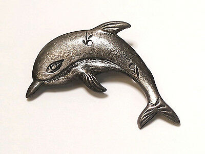 Pewter LEAPING PLAYING DOLPHIN PORPOISE Brooch Pin