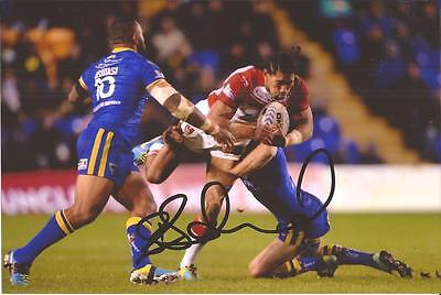 St Helens Rugby League * Sia Soliola Signed 6X4 Action Photo+Coa