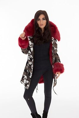 Camouflage Sexy Womens Winter Ladies Warm Faux Fur Parka Hooded Jackets Coat UK