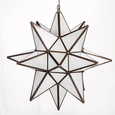 18 Inch Frosted White Glass Star Light Pendent