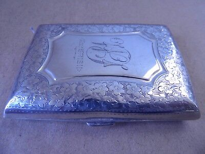 Pretty Edwardian Sterling Silver Flowers Cigarette Case 1908