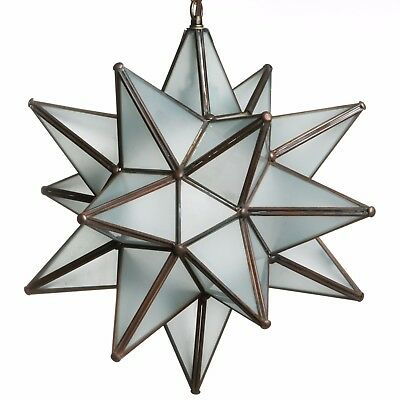 15 Inch Frosted White Glass Star Light Pendent