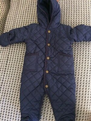 Baby Boys Authentic Ralph Lauren Navy blue Quilted snowsuit 6 Months