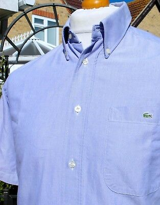 Lacoste Sky Blue Oxford Button-Down Shirt - S/M - Size 38 - Mod Ska Scooter