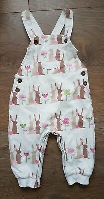 NEXT baby girl pink beige dungarees 6-9 months