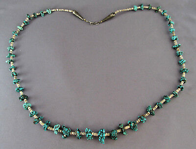 """Vintage Old Pawn Sterling Heishi Bead Spiderweb Turquoise Nugget Necklace 27"""""""