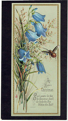 Victorian Christmas Greetings Card Harebells & Bee Embossed Artist Signed
