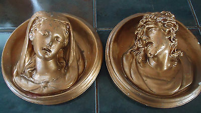 """2 ANTIQUE plaster religious wall hangings  Jesus & Mary  6.5"""""""