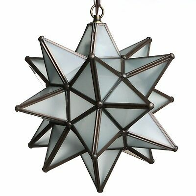 12 Inch Frosted White Glass Star Light Pendent