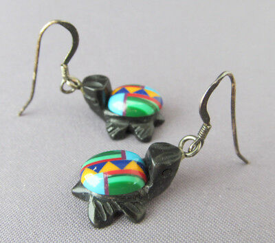 Vintage Old Pawn Zuni Sterling Onyx Carved Fetish Inlay Tortoise Turtle Earrings