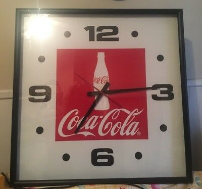 "Large Vintage Coke Cola Plastic Store Advertising Wall Clock 29""Square"