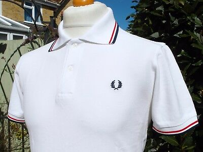 Fred Perry White Twin Tipped Pique Polo - M - Ska Mod Scooter Casuals Skins