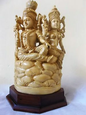 "Lord Vishnu and Goddess Lakshmi hand Crafted 15.5"" Mahavishnu Statue Energized"