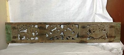 19th C Antique Hand Carved Wall Hanging Wooden Panel Dragon Vintage Home decor