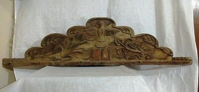 Antique Hand Carved Wall Hanging Wooden Panel Church Vintage Plaque Home decor