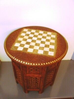 Chess Board Round Coffee Table Hand Carved Inlaid Table Fold able Home Decor