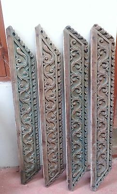 Antique Hand Floral Carved Wall Hanging Wooden Panel Set of 4 Home decor panel