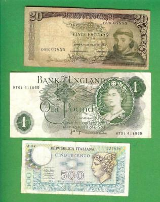 Portugal , Great Britain & Italy ~ 3 X  Paper Money Lot  # 1555  (*-*)  >>