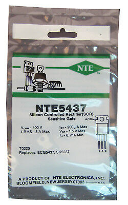 NTE5437 8-Amp, 400-Volt SCR, TO-220 Case
