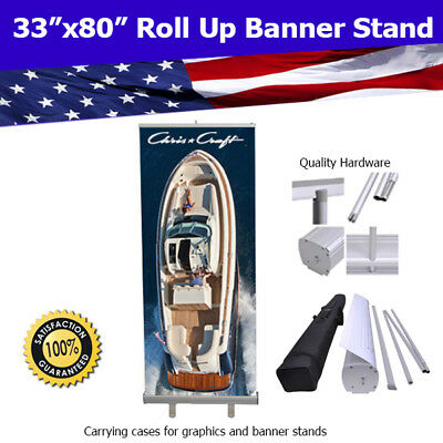 "Aluminum 33""x80"" Retractable Roll Up Banner Stand Trade Show FREE SHIPPING"