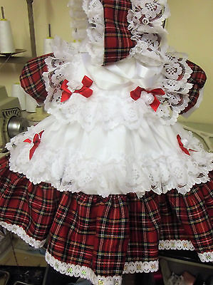 Dream Baby Xmas Traditional Netted Tartan Dress Bonnet 0 To 2 Years  Or Reborn