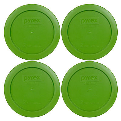 """Pyrex 7200-PC 2 Cup 5"""" Storage Lid Cover 4 Pack Lawn Green for Glass Bowl New"""