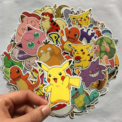 80pcs Pokemon Go Pikachu Cartoon Stickers Skateboard Laptop Luggage Car Sticker