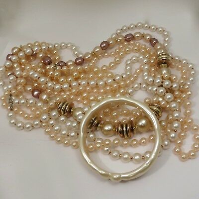 Lot 4 Beaded Faux Pearl White Beige Necklaces & 1 Pearly White Bracelet