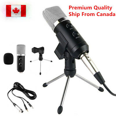 Pro Microphone USB Podcast Condenser Silver For PC Record MIC with Stand Tripod