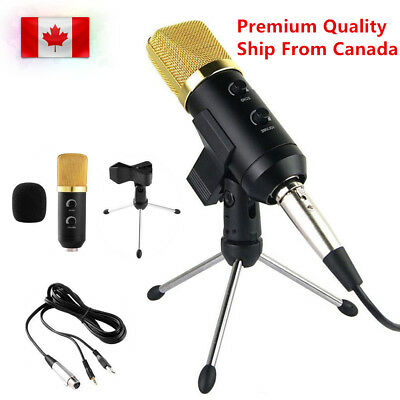 Pro Microphone USB Podcast Condenser Gold For PC Record MIC with Stand Tripod
